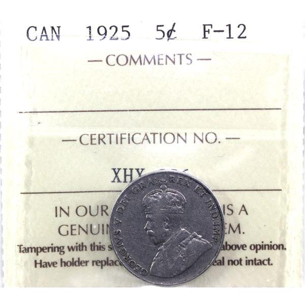 1925 Canada 5-cent ICCS Certified F-12 *KEY DATE*