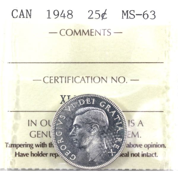 1948 Canada 25-cent ICCS Certified MS-63