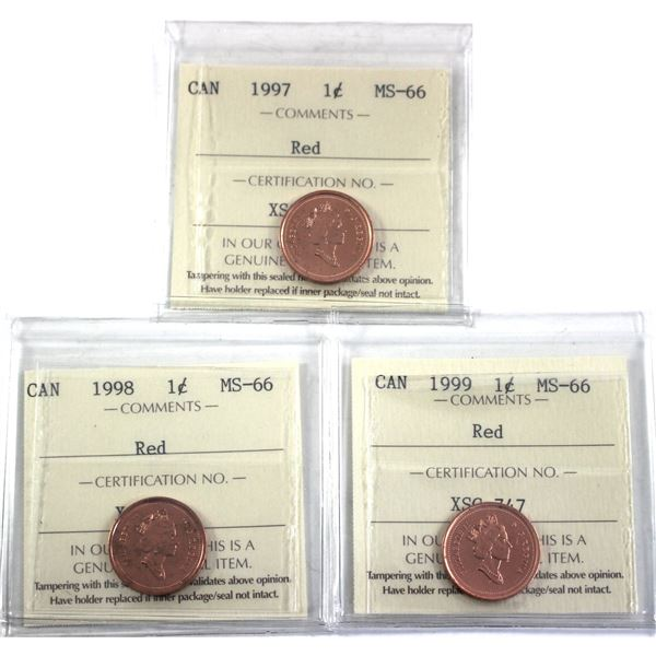 1997, 1998 & 1999 Canada 1-cent ICCS Certified MS-66. 3pcs