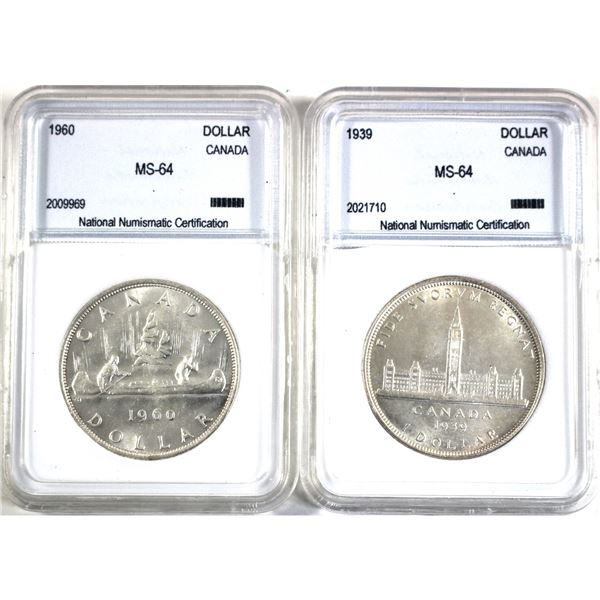 1939 & 1960 Canada Silver Dollar NNC Certified MS-64. 2pcs