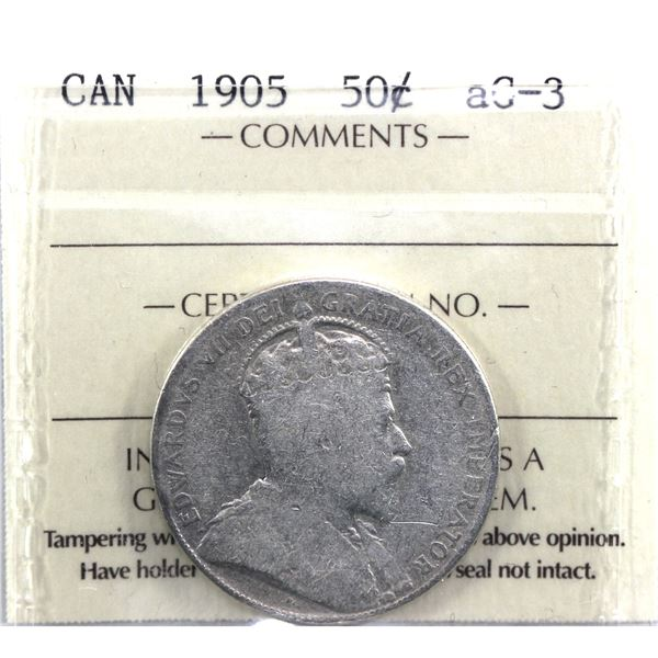 1905 Canada 50-cent ICCS Certified AG-3