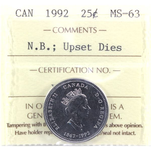 1992 New Brunswick Upswet Dies 25-cent ICCS Certified MS-63