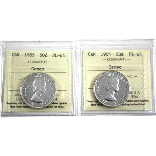 1954 & 1955 Canada 50-cent ICCS Certified PL-64 Cameo. 2pcs