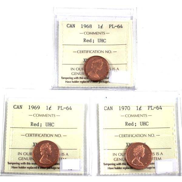 1968,1969 & 1970 Canada 1-cent ICCS Certified PL-64 Ultra Heavy Cameo. 3pcs