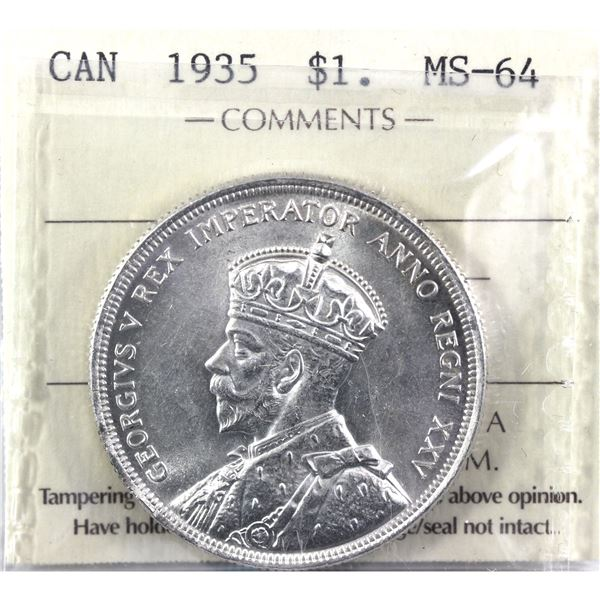 1935 Canada Silver Dollar ICCS Certified MS-64