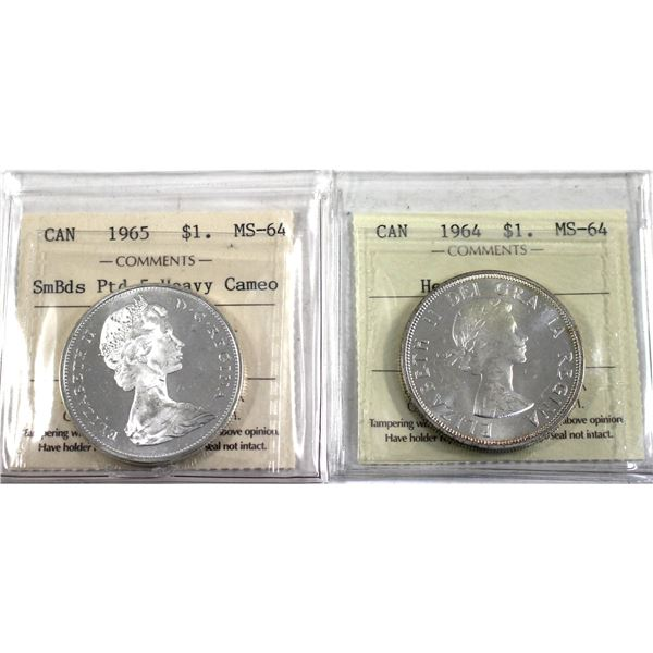 1964 & 1965 Small Beads Pointed 5 Canada Silver $1 ICCS Certified MS-64 Heavy Cameo. 2pcs