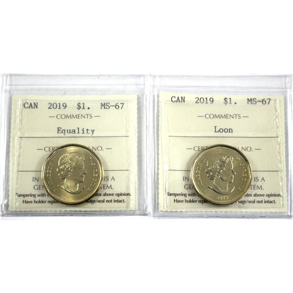 2019 & 2019 Equality Canada Loon $1 ICCS Certified MS-67. 2pcs
