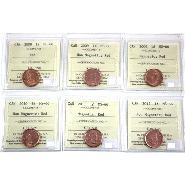 2008-2012 Canada 1-cent ICCS Certified MS-66 Red - 2008, 2009 Non Magnetic, 2009 Magnetic, 2010 Non