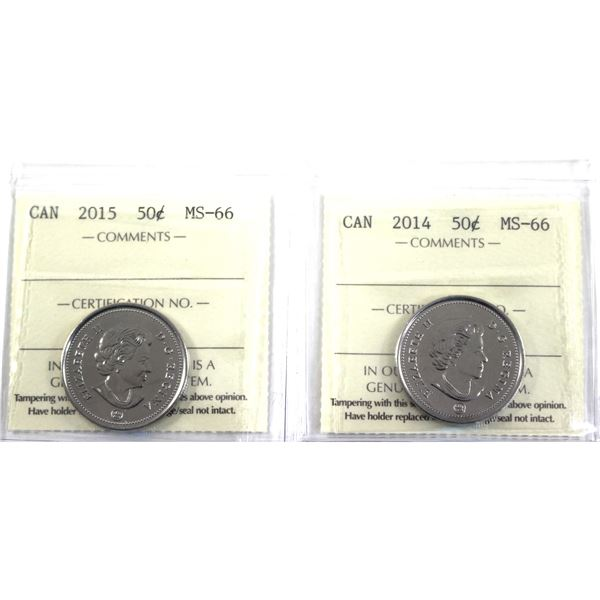 2014 & 2015 Canada 50-cent ICCS Certified MS-66. 2pcs