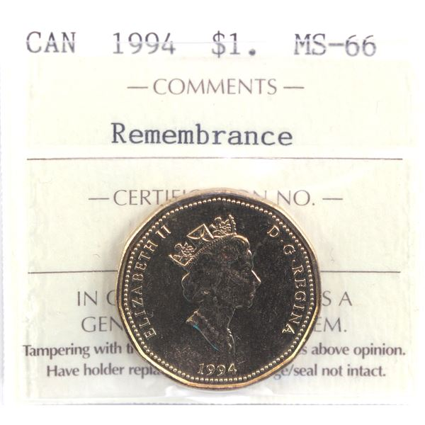 1994 Canada Loon $1 Remembrance ICCS Certified MS-66.