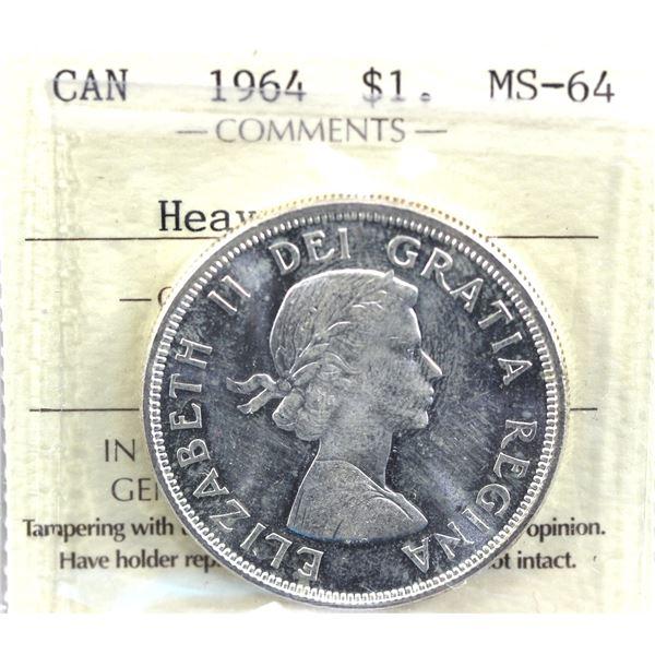 1964 Canada Silver $1 MS-64 Heavy Cameo.