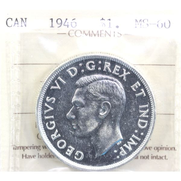 1946 Canada Silver $1 ICCS Certified MS-60.