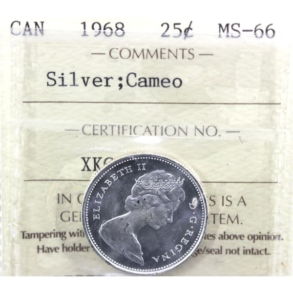 1968 Canada 25-cent Silver ICCS Certified MS-66 Cameo.