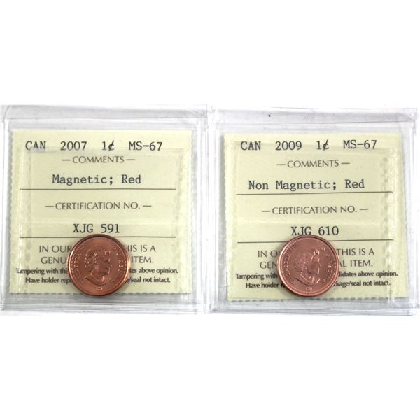 2007 Magnetic & 2009 Non Magnetic Canada 1-cent ICCS Certified MS-67 Red. 2pcs