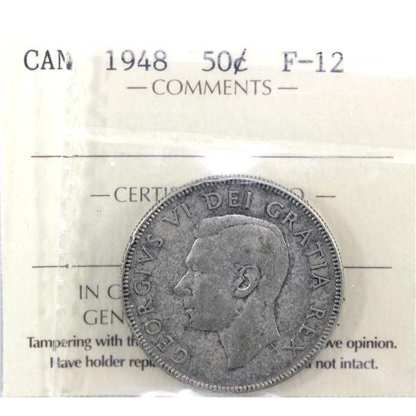1948 Canada 50-cent ICCS Certified F-12. *KEY DATE*