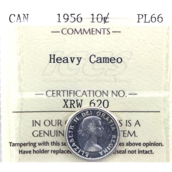 1956 Canada 10-cent ICCS Certified PL-66 Heavy Cameo.