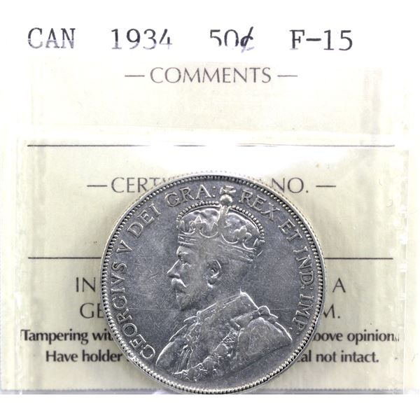 1934 Canada 50-cent ICCS Certified F-15.