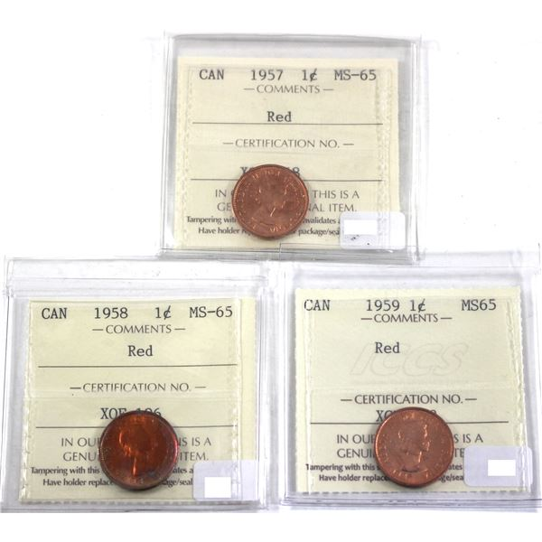 1957, 1958 & 1959 Canada 1-cent ICCS Certified MS-65 Red. 3pcs