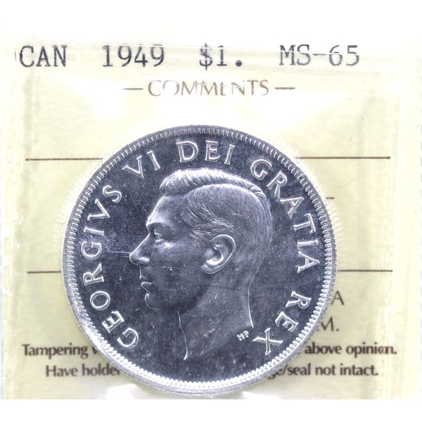 1949 Canada Silver $1 ICCS Certified MS-65.