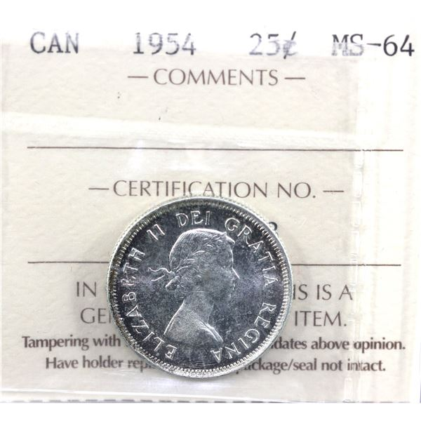 1954 Canada 25-cent ICCS Certified MS-64.