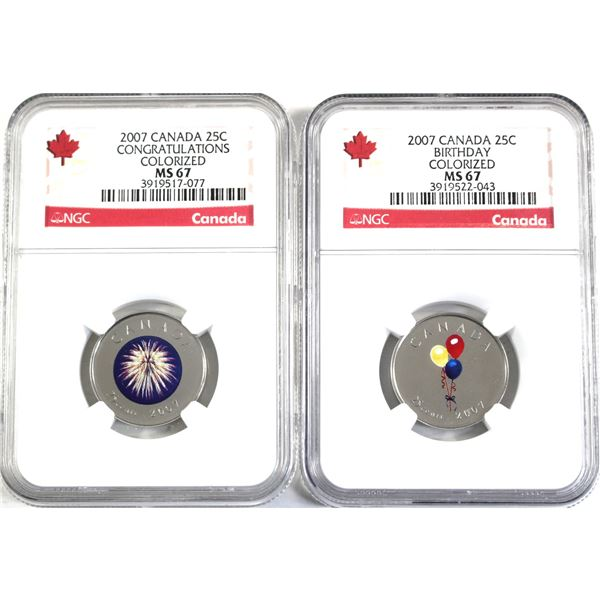 2007 Birthday & 2007 Congratulations Canada Colourized 25-cent NGC Certified MS-67. 2pcs