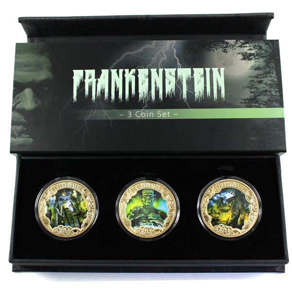 2019 Tokelau $1 200th Anniversary of Frankenstein 3-coin Gold Plated Copper Coin Set in Deluxe Packa