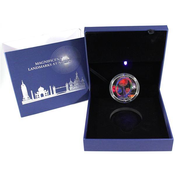 2018 Ivory Coast 2000 Francs Landmarks At Night - London Eye 2oz .999 Fine Silver Coin Featuring Ult