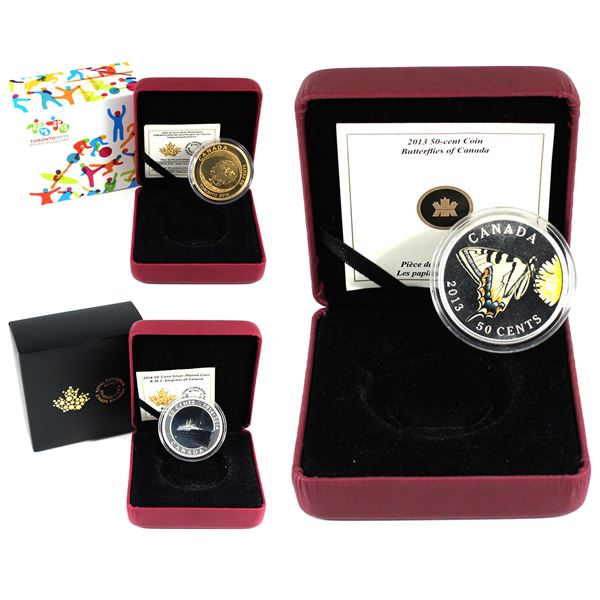 Lot of 3x Canada 50-Cents Silver or Gold Plated Copper Coins. Lot includes: 2013 Butterflies of Cana