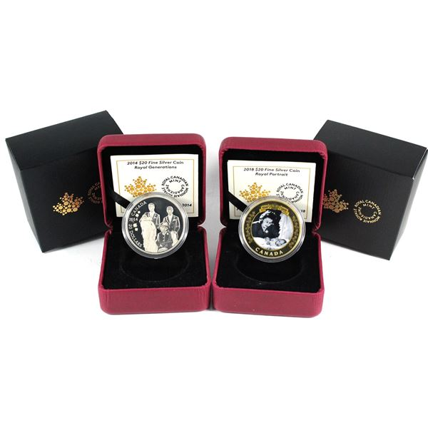 2014 Canada $20 Royal Generations & 2018 $20 Royal Portrait Fine Silver Coins (2014 lightly toned, 2