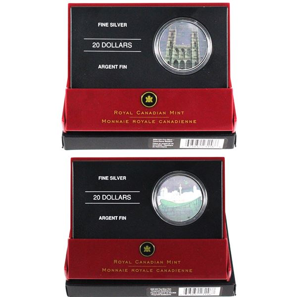 2006 $20 Architectural Treasures Fine Silver Hologram Coins - Notre-Dame Basilica & Pengrowth Saddle