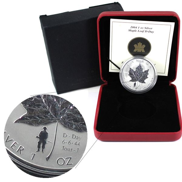 2004 Canada $5 D-Day Privy Mark Silver Maple Leaf (TAX Exempt)