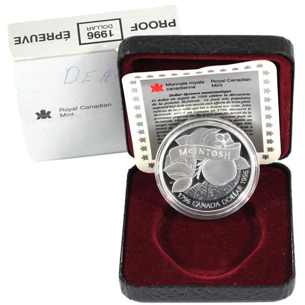 1996 Canada Cased Proof Silver Dollar Commemorating the 200th Anniversary John McIntosh's Arrival in
