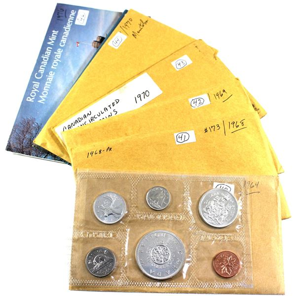 Group lot of Canada Proof-like Uncirculated Sets: 1964 Silver , 1968, 1969, 2x 1970, 1974 & 1976. 7p
