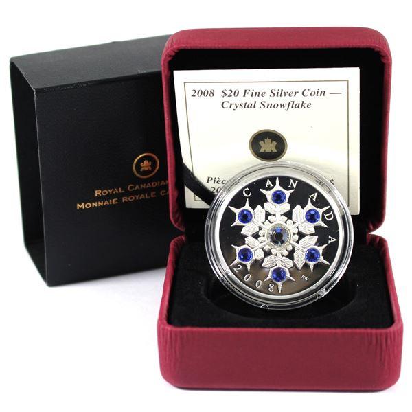 2008 Canada $20 Sapphire Crystal Snowflake Fine Silver
