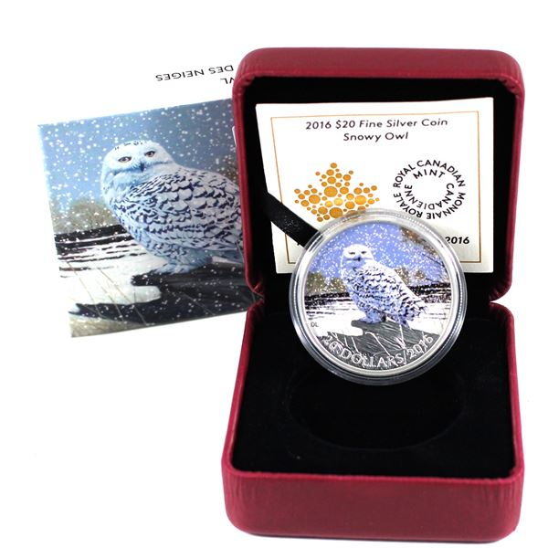 2015 (2016) Canada $20 Snowy Owl Fine Silver coin (TAX Exempt)