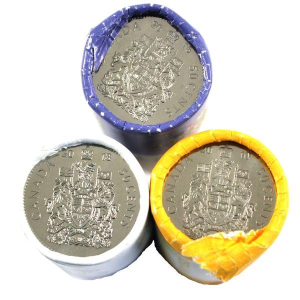 2010, 2016 & 2018 Canada 50-cent Original rolls. 3pcs