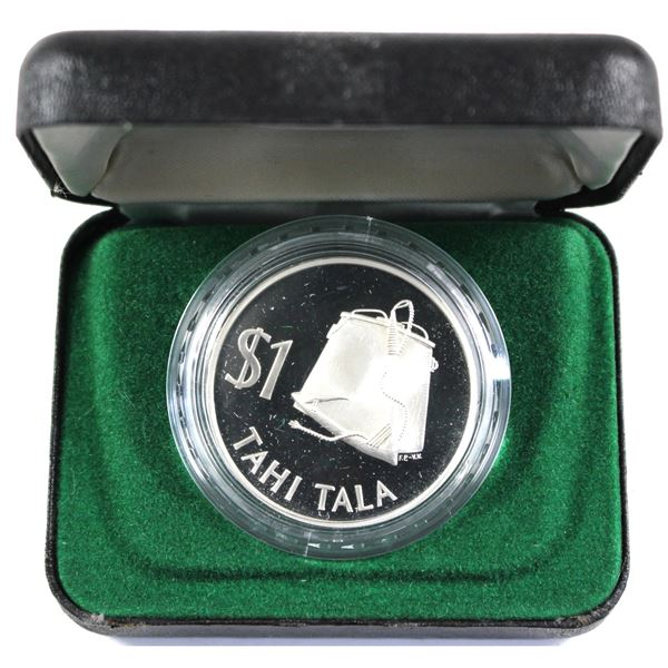1979 New Zealand $1 Tokelau Tahi Tala Sterling Silver proof coin (.6974 oz. pure silver).  Coin come