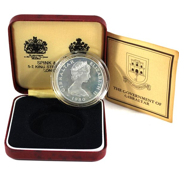1980 Gibraltar  Sterling Silver proof one crown commemorating the 175th anniversary of the Lord Hora