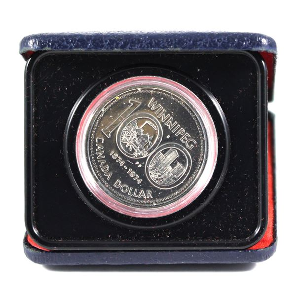 1974 Canada Nickel Dollar in customer commemorative holder. These Nickel Dollars were given in comme