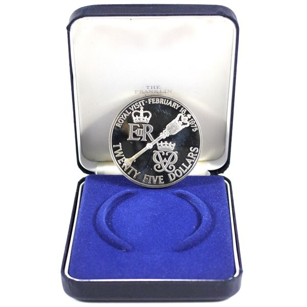 1975 Bermuda $25 Sterling Silver coin  Commemorating the  royal visit of Queen Elizabeth and Prince
