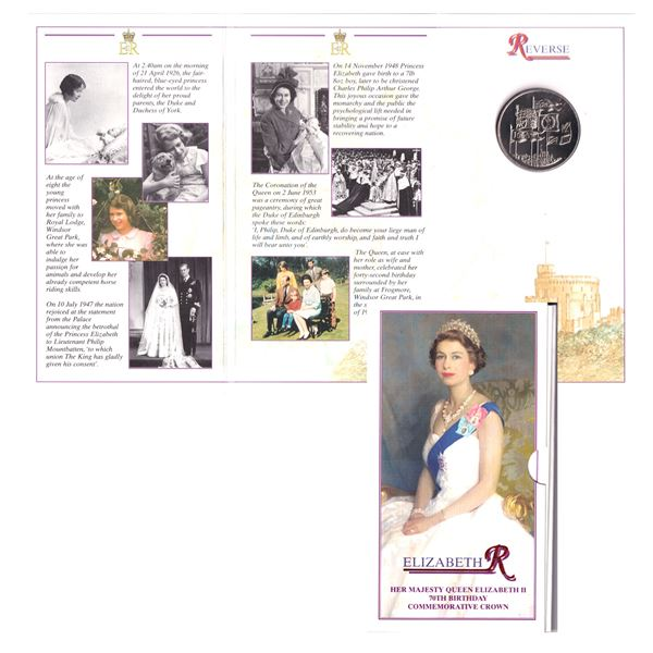 1996 UK 5 pound proof Crown commemorating the 70th Birthday of   Queen Elizabeth II.