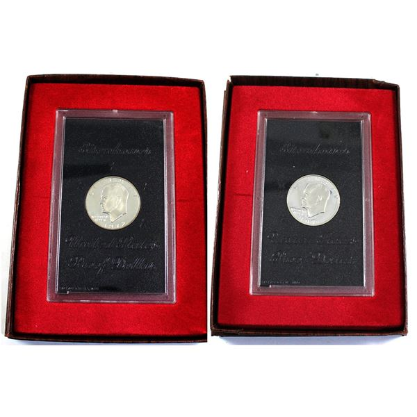 1971 & 1972 Eisenhower Proof Dollar presentation holder. coin holder contains minor imperfections an