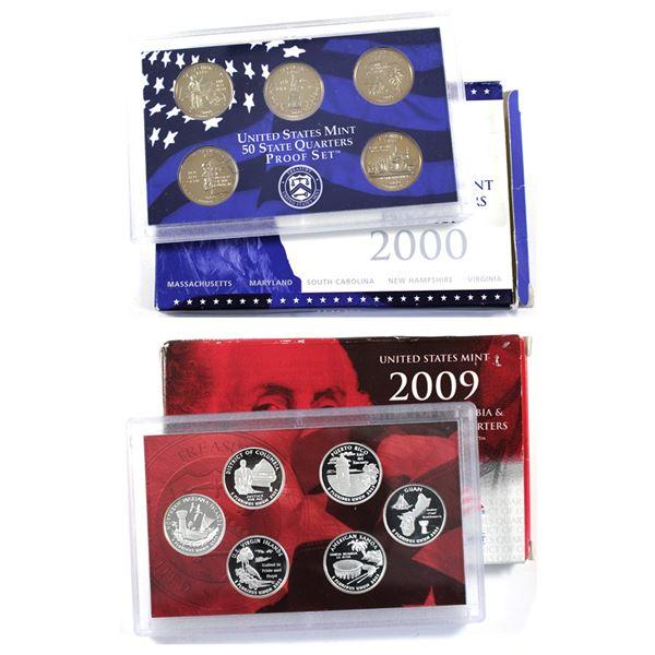2000 USA 50 states Quarter 5-coin proof Set & 2009  District of Columbia & US Territories Quarter Pr