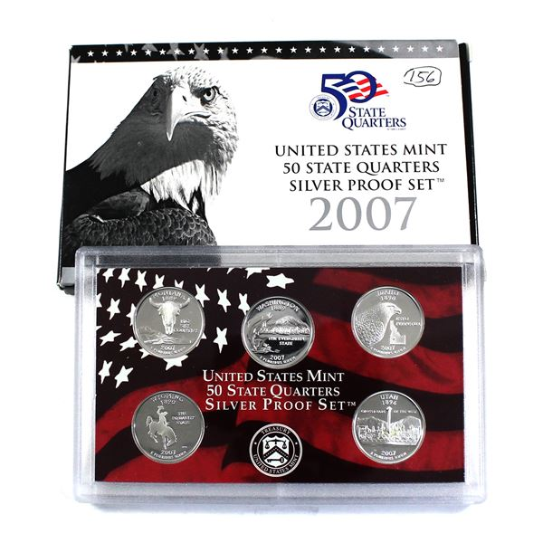 2007 United States Mint 50 state quarter silver proof 5-oin set.  (outer cardboard sleeve is lightly