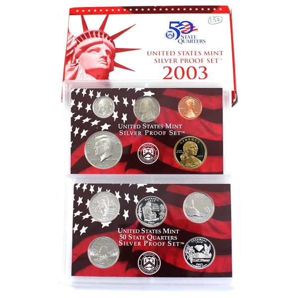 2003 United States Mint Silver Proof Set with certificate and Display Box (outer cardboard sleeve is