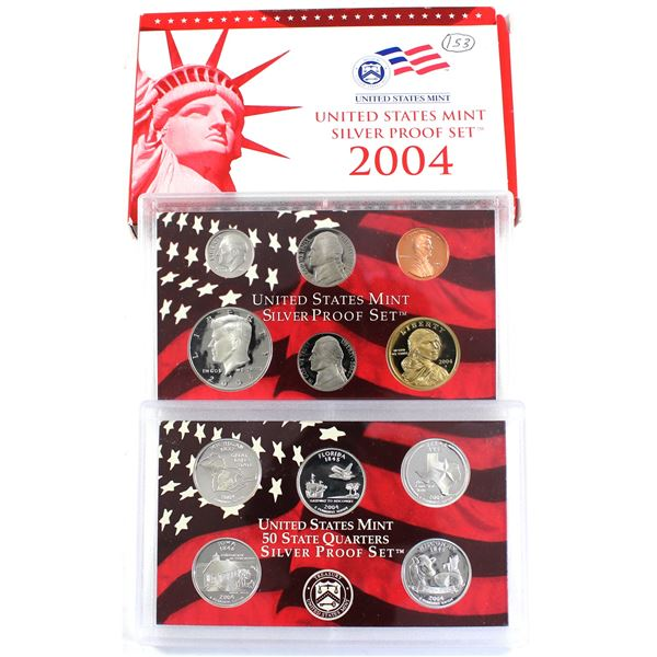 2004 United States Mint Silver Proof Set with certificate and Display Box (Coins are lightly toned)