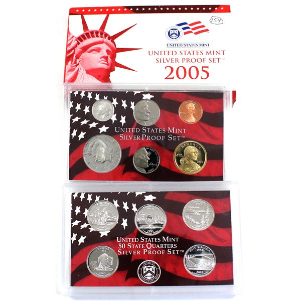 2005 United States Mint Silver Proof Set with certificate and Display Box ( Coins are lightly toned)