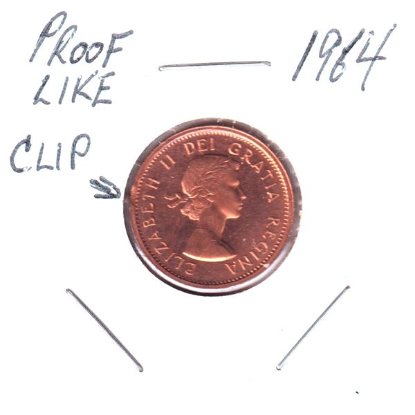 Clipped Planchet 1964 Canada 1-cent Proof-Like. Tough error to find in PL.