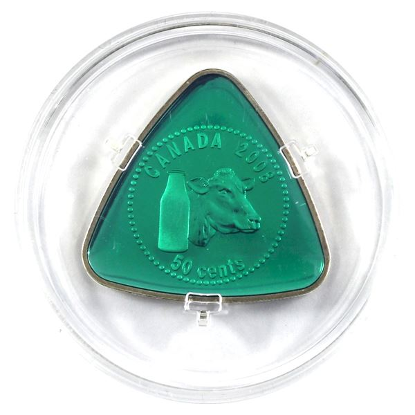 2008 Canada 50-cent Milk Delivery Sterling Silver Triangle Coin (coin & Coa only)