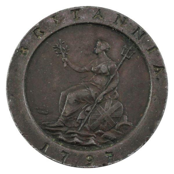 1797 Great Britain 2-Pence cartwheel token